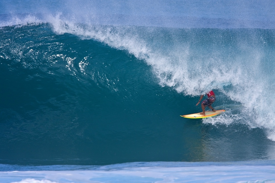 Manoa wasn't too bothered about losing after a bunch of waves like this - sans the normal fierce crowd of 50+ pros...