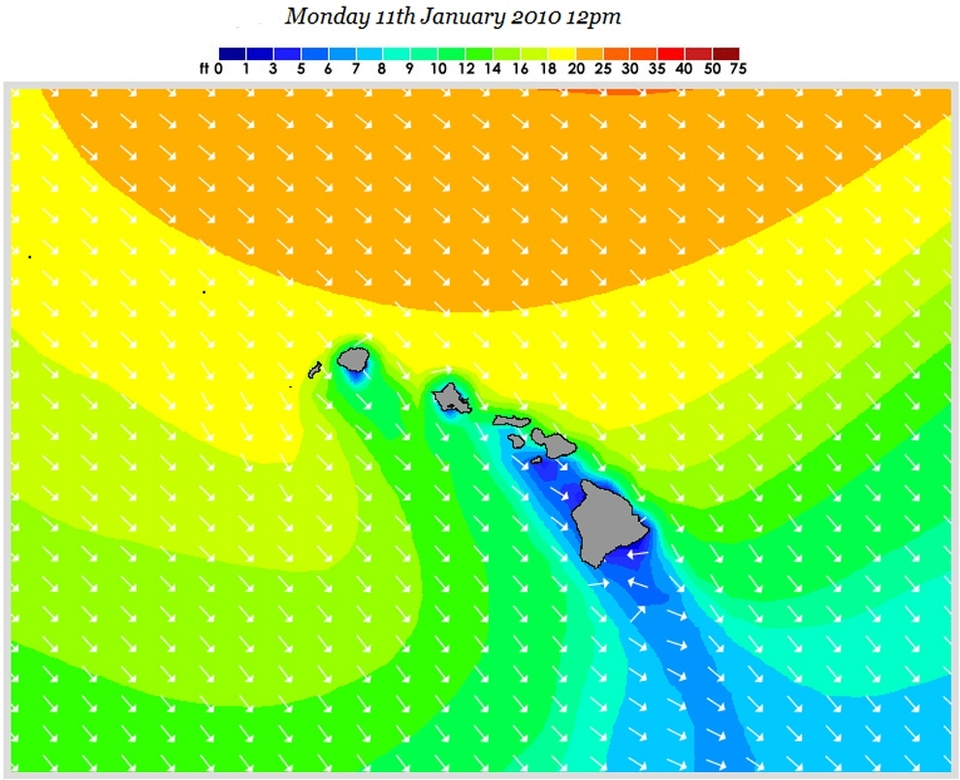 The Hawaiian Islands are going to be wearing these swells slightly more directly.    Friday will see the cleanest surf with in the 20ft face range and light trade winds.    Monday (pictured) is the go for out-and-out size. Swells around the 30 to 40ft face will be hitting the big wave spots.   Should local winds allow it, expect the outer reefs to be bringing home the goods. As will certain secluded bays.