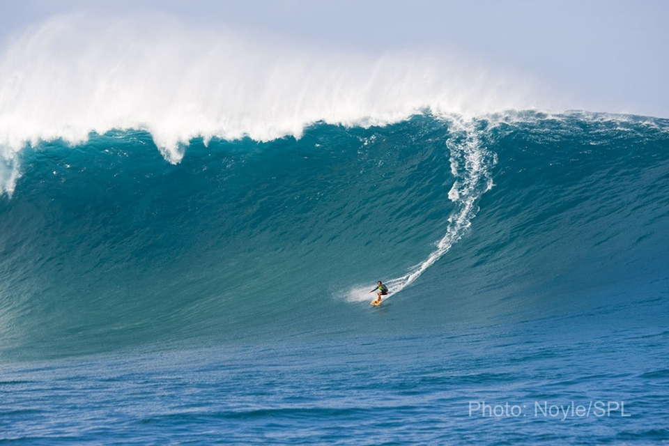 Maui grom Kai Lenny got some good ones courtesy of his expert drivers - Laird Hamilton and Dave Kalama.