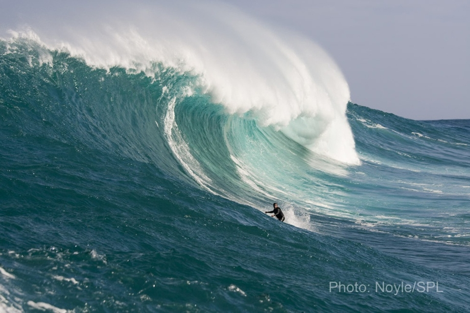 Brazilian big wave rider Carlos Burle heading for the shoulder.