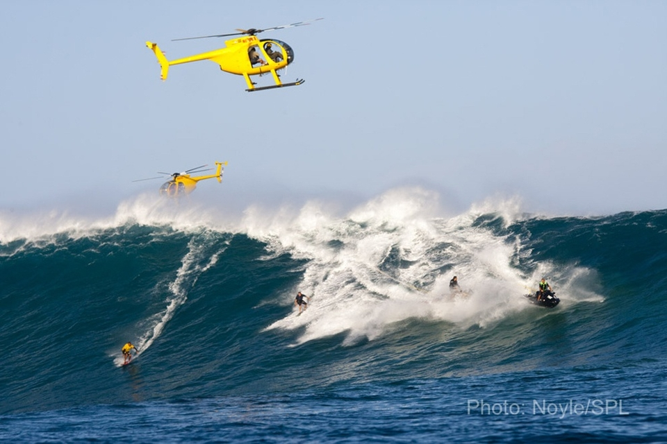 Party wave at Jaws… don't mind the jet ski fumes!