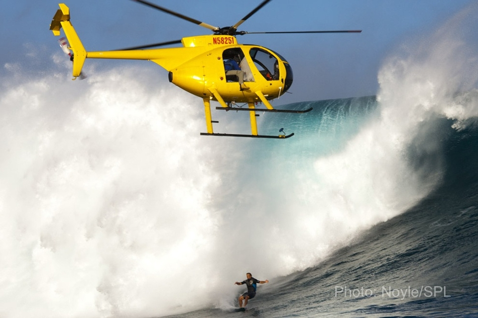 One of these days, a chopper is bound to get clipped by the lip at Jaws…