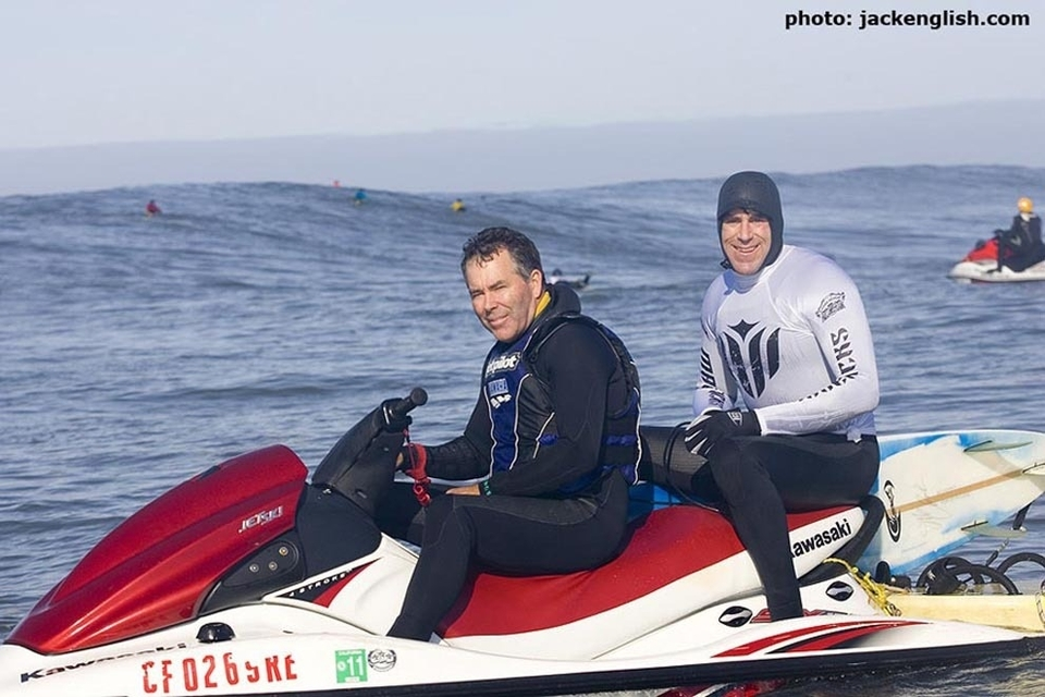 Mavericks pioneer Jeff Clark with Grant Washburn. No longer affiliated with the event, Clark is reportedly involved in a lawsuit with the Mavericks Surf Contest organizers. Any chance to settle it in the water the old fashioned way?