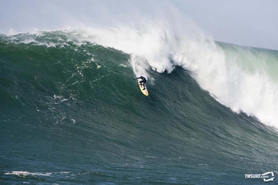 Shane Dorian nearly met his maker after suffering a two wave hold down on this supersized Mavericks bomb.
