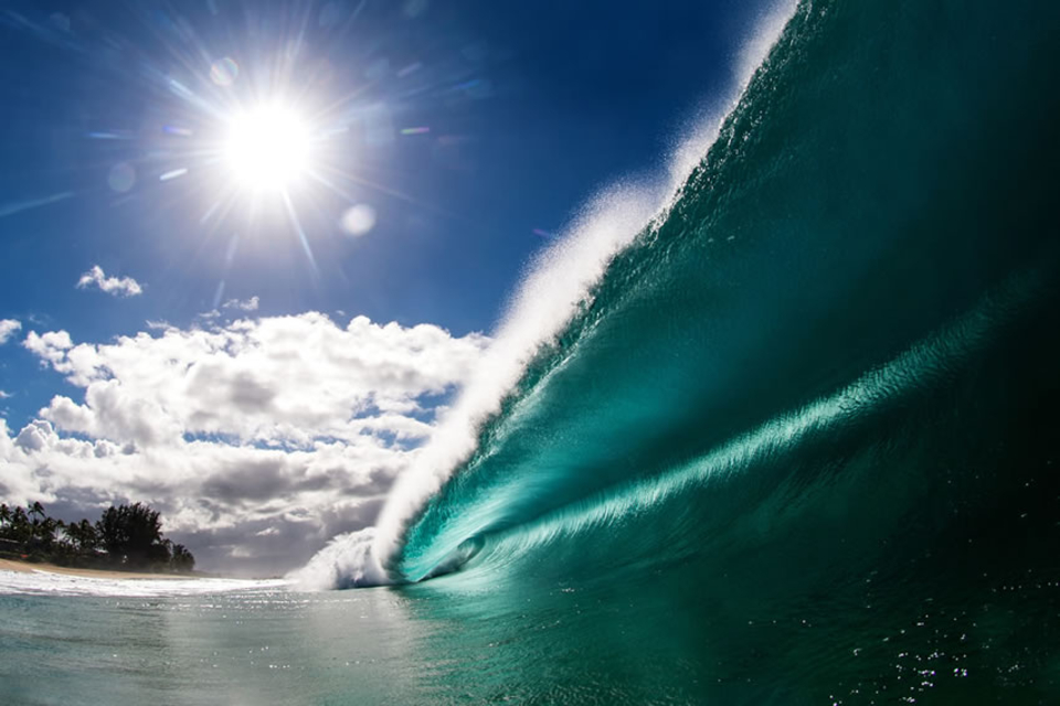 Large, glassy barrel on Hawaii's North Shore