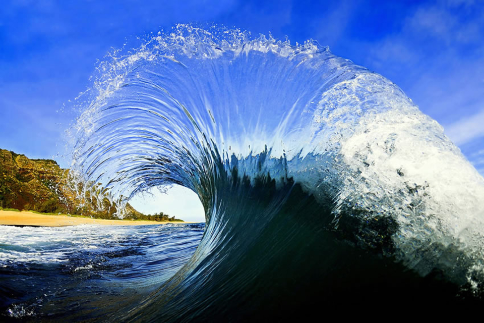 "Backwash can create strange results such as this wave that looks like the punk hairstyle ""Mohawk""."