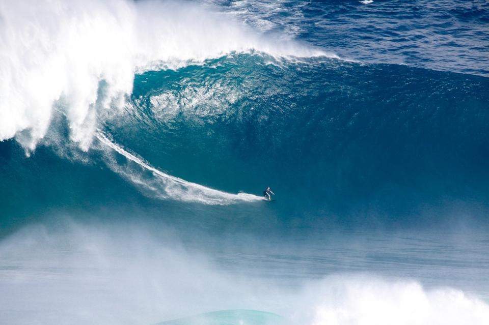 Sebastian Steudtner (Nuremberg, Germany) finished first in the Billabong XXL Biggest Wave division for a giant tow-in ride at Jaws, Maui, Hawaii on a monster wave that took everyone by surprise for its size and speed.  It was the first time a German surfer had appeared on the XXL stage.