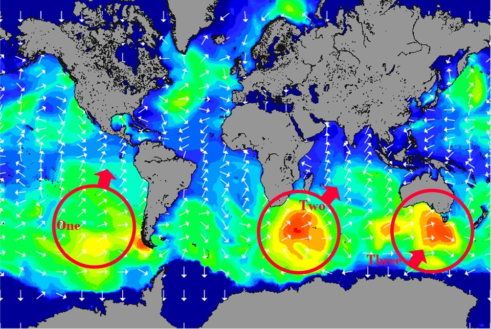 THREE almost simultaneous south swells are currently generating in the South Atlantic, South Pacific and the Indian Ocean.    This chart is a snapshot from Sunday May 2nd, from left to right: a reasonably-sized, long period, south swell (190-195 degrees) headed towards the USA expected to make landfall on Wednesday. A day earlier for Mexico and below.    The central swell will first impact South Africa, lighting up those famous points before charging up the Indian Ocean and the Indonesian reefs.   The final swell looks set to bring 30ft plus seas to the Tasmanian hell men and excellent conditions to the entire southern reach of Australia.    If you grab any of these sessions then let us know: general@magicseaweed.com.
