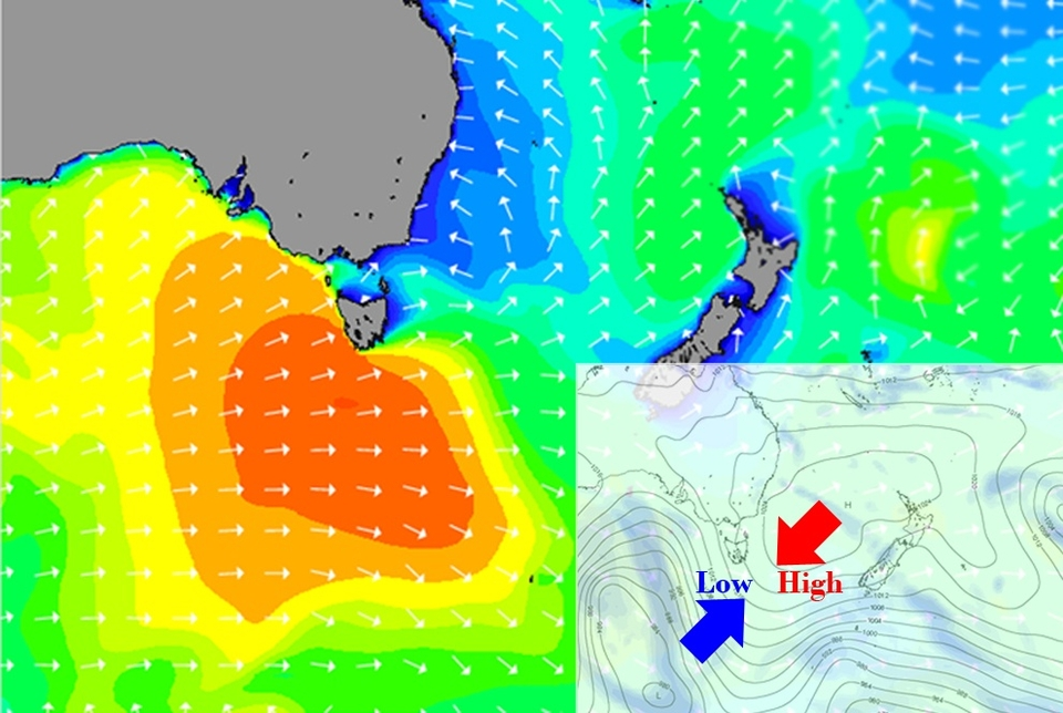 Open ocean swell in the 30ft range coupled with a classic low versus high pressure chart = high surf advisory and offshore winds.