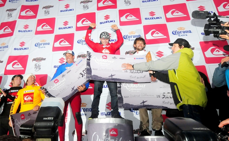 LOCAL big wave rider, Cristian Merello, wins the Quiksilver Ceremonial Punta de Lobos Big Wave Invitational at Pichilemu Chile in 30ft surf.    Presented by Suzuki, the event on May 19, 2010, launched the 2010-2011 Big Wave World Tour that Cristian Merello now leads.   It was a South American double-up with Cristian Merello (Chile) winning the $10,000 and Gabriel Villaran (Peru) taking second place. The roster of big wave surfing names you would expect to see in a final filled the remainder of the places: Peter Mel (California) in 3rd, Jamie Sterling (Hawaii) 4th, Mark Healey (Hawaii) 5th, Greg Long (Califonia) in 6th.