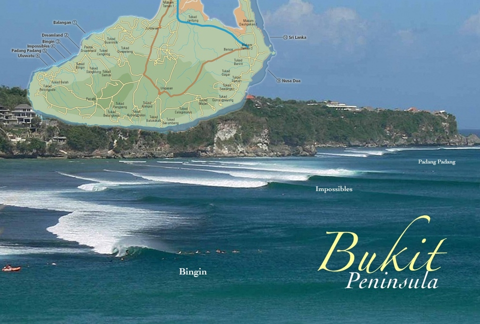 Swells are focused onto the Bukit Peninsula because of the deep-water channels on either side of Bali, particularly the east side Lombok channel, which can draw in overhead waves to Nusa Dua when everywhere else seems too small.