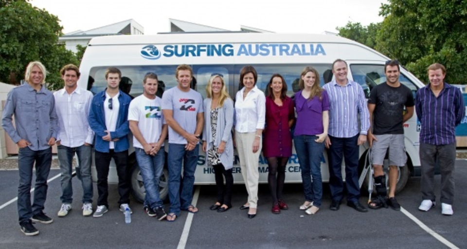 A gathering of past and present Australian champion surfers attended and applauded the announcement
