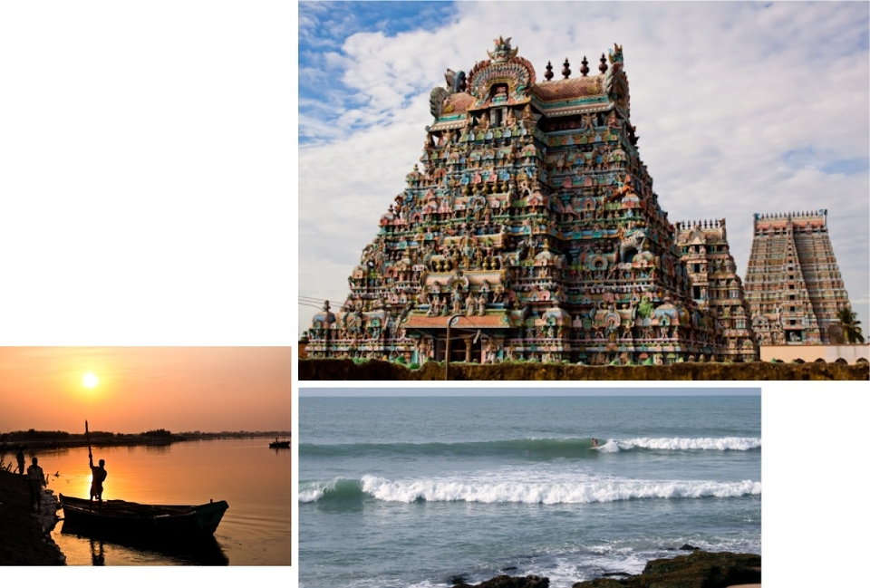 On the Bay of Bengal coastline in Tamil Nadu state is the spot called Alwars at  Manapad Point