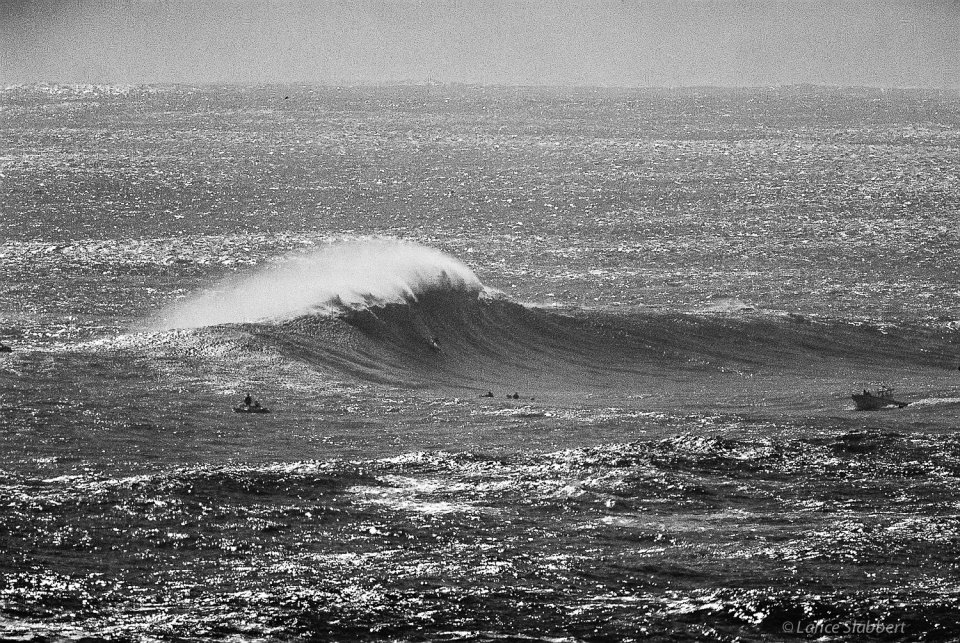 2 of 3: I teamed-up with a big wave legend  from Cape Town, Mickey Duffus, and along with about 5 other tow teams rode some massive waves this day...