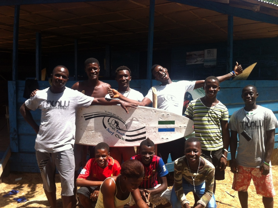The Bureh Beach Surf Club crew ... frothing out