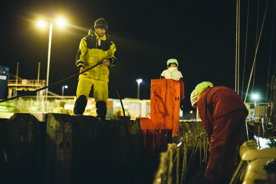 The boys tying up at the commercial pier, hours before a force nine northerly blew for three days straight.