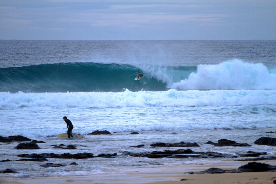 While the grooms were doing battle with the ocean down at Point, local surfers like Daniel Thornton were pulling into bus-size tubes like this from Boneyards through to Impossibles.