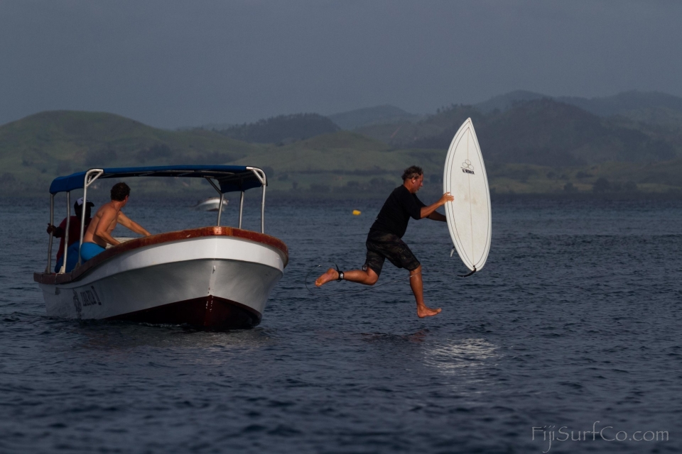 Tavarua founder Dave Clark jumps of the for a quick session an hour before the sun sets.