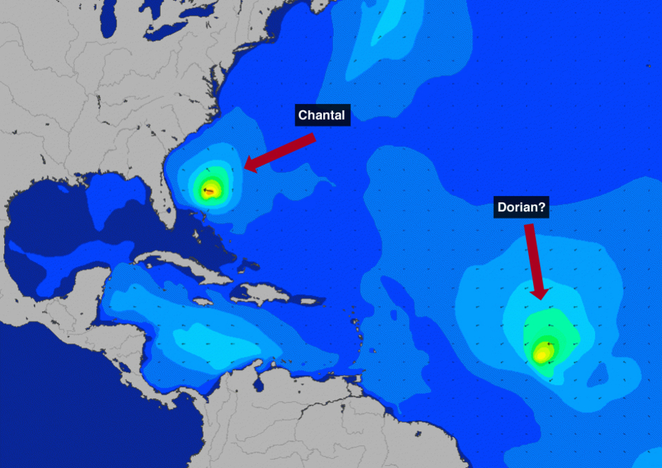 Wave height for the NorthWest Atlantic region for Sunday 14th, where is possible to identify Chantal and the next system moving towards the Caribbean, yet to be officially identified.