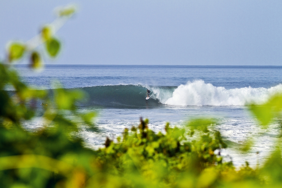Adam Bennetts on his very first wave of the day at Keramas.