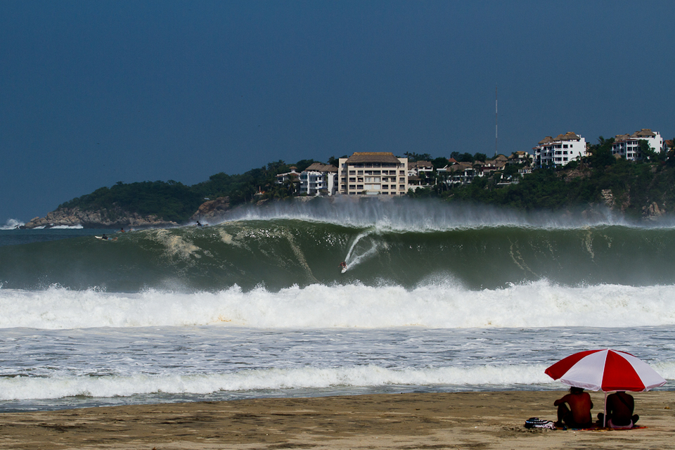 This is Puerto Escondido from August 2012 on a smaller swell than the one forecast...  How we love constructive interference.