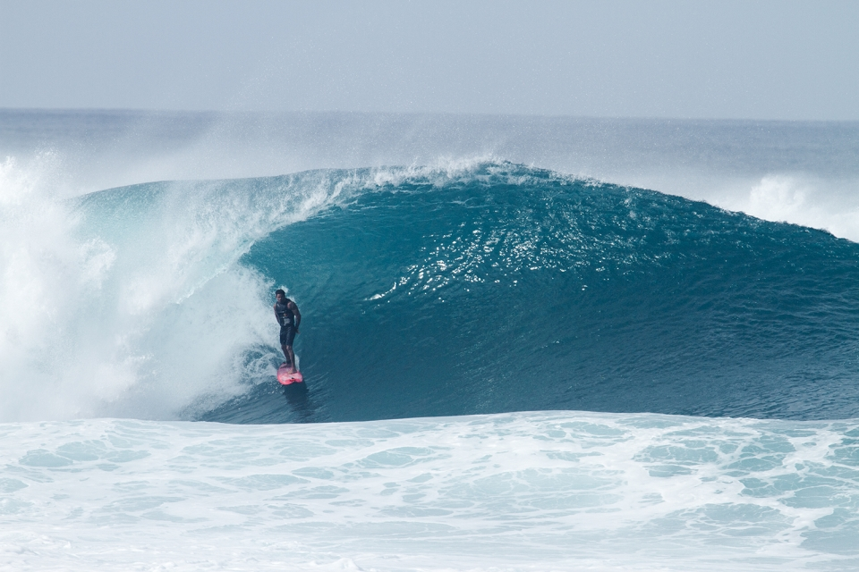 The toughest man in surfing, Kala lives for swells like this.