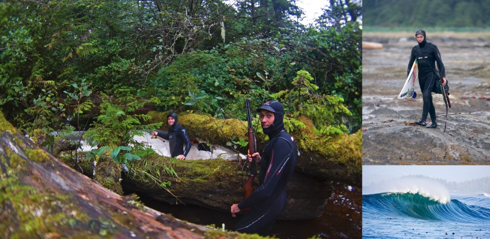 Eric Ramsey and Ian Battrick going up river after some fish. The gun came with us everywhere once we left the camp incase of Bear or more concerningly Cougar encounters, both of which occurred at some point in the weeks out in the forest.