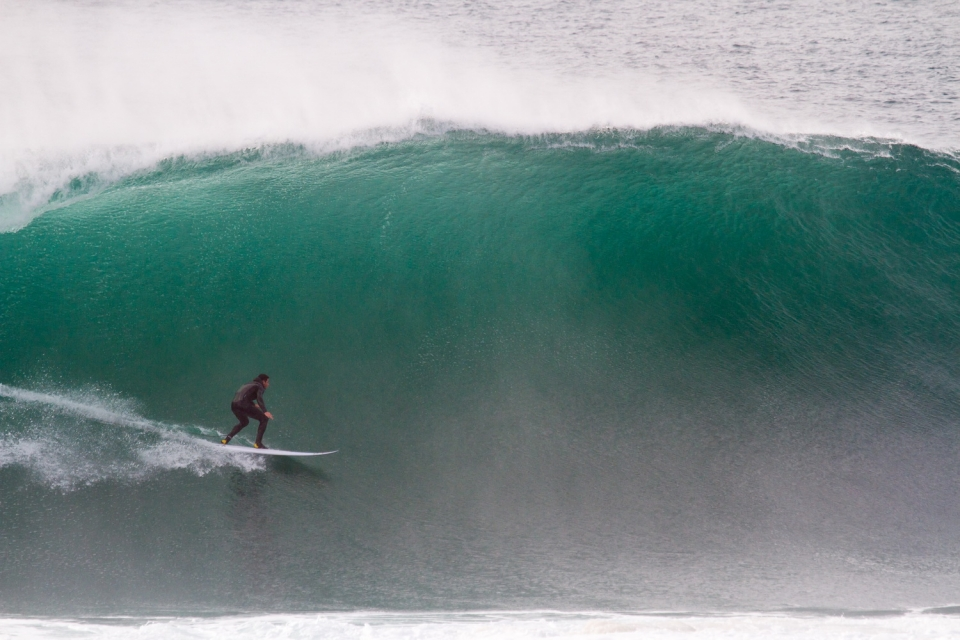 Tom pre Ireland  about to slip under a Nazare lip.