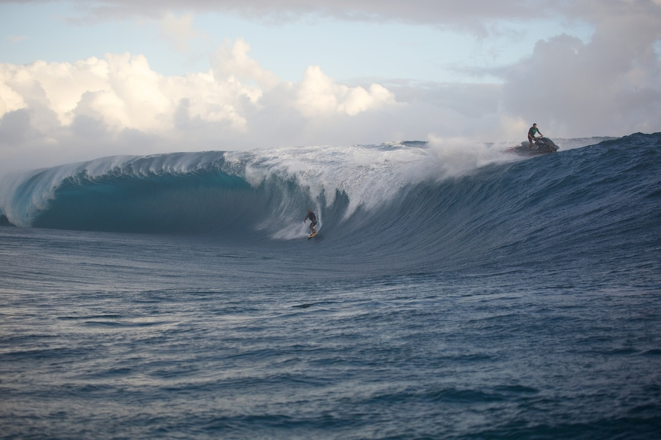 Poto of the Tahitian water patrol gets his at the end of the day.