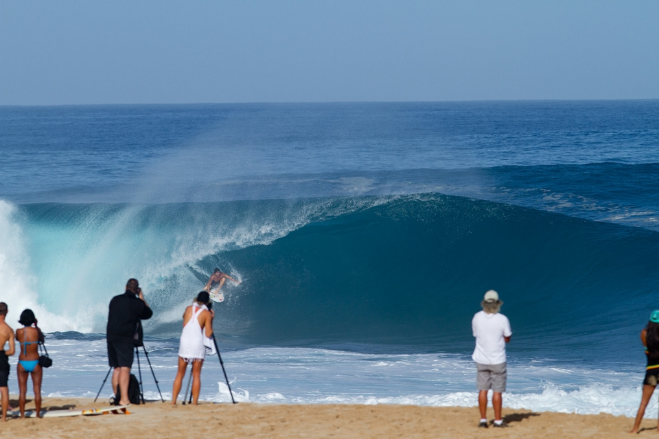 Reef McIntosh at Pipe negotiating what is essentially a shorebreak.