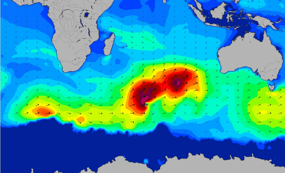 Here is the metamorphosis of two large storms into one monster swell