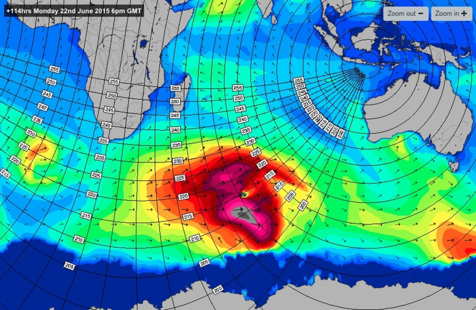 Swell chart for Mon 22nd June