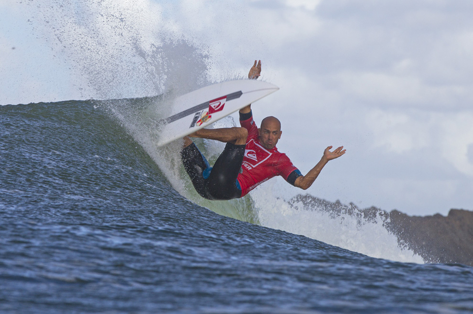 Will it be a Joel Parko/Mick Fanning final? Slater pictured here will for once not be the crowd favourite.