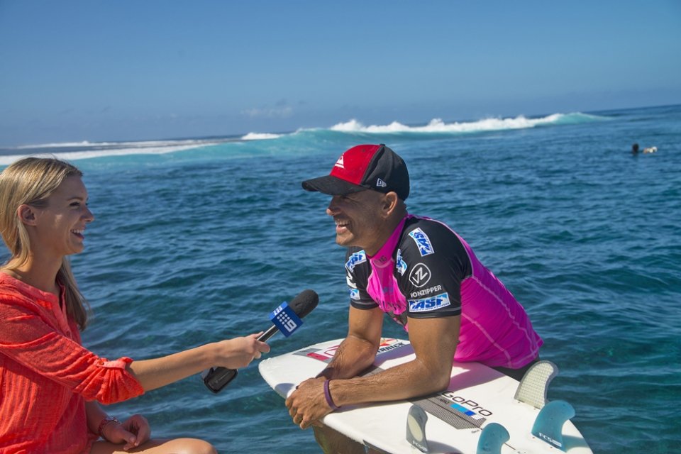 """I was kind of lucky that one even came in the end,"" Kelly Slater said. ""I blew the best wave of the heat and lost my fins. I had the line I wanted and just lost my fins on the foam-ball and was too far behind to catch up. Brett (Simpson) had a few opportunities and paddled too wide. My waves weren't that great and I was just trying to make things happen."""