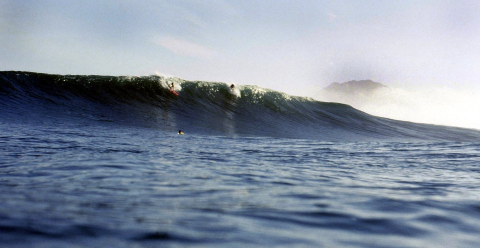 Davie Stolk and Pierre De Villiers at Sunset in 1989. This was around the time the Big Wave thing in Cape Town was really taking off and these are two of the pioneers and my personal mentors and heroes.
