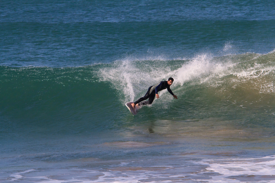 Making the most of one of the smaller days: Living in the swell soaked South of Morocco, Hassan has year round empty surf on his doorstep.  Although he usually doesn't get out of bed for anything under 10 feet he could occasionally be persuaded to enjoy  the scaled down stuff…