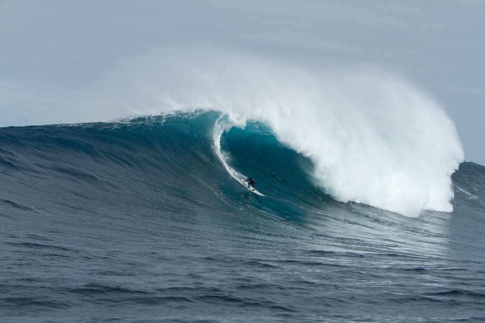 Current Big Wave World Tour champion Grant 'Twiggy' Baker using arm power alone at the Cow Bombie.