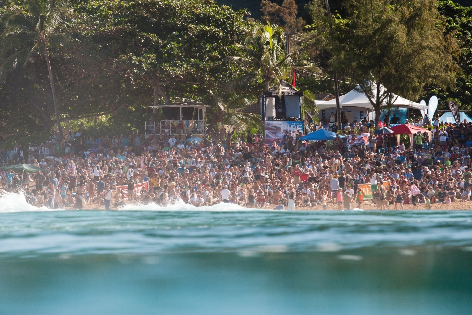 """The crowd today is the biggest I have ever seen at Pipe,"" Slater said. ""It's unbelievable. I woke up in the dark and my friend Ross Williams was at my house saying he couldn't even get his bike on the road to ride over here. We're so excited to be here at Pipe, especially when the waves are good. All the people on the beach and online and watching on television make it that much more exciting."""