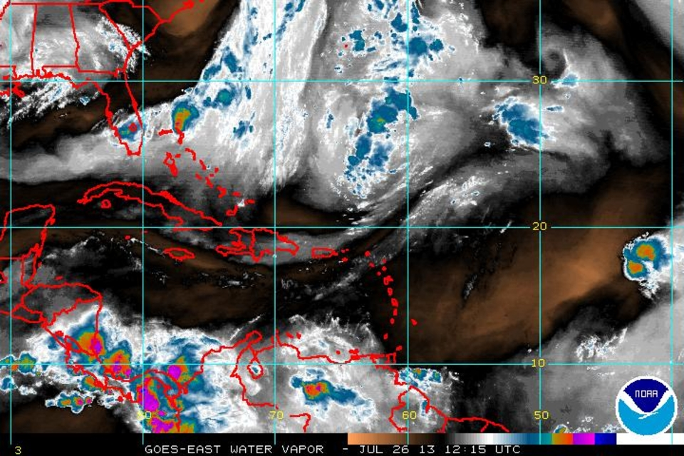 Water vapour image of Dorian moving towards an area of dry air.