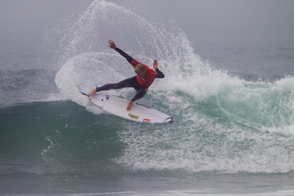 """Second on the ASP rankings, Mick Fanning started his run with a last minute win against San Clemente surfer, Kolohe Andino. """"You can't spare anything out there,"""" Fanning said. """"Kolohe and I have been on the same time zone in free surfs before this event and he's been ripping. Every time I've seen him catch a wave he's frothing and it was a good heat. He started off really strong and I was just lucky to find that last one."""""""