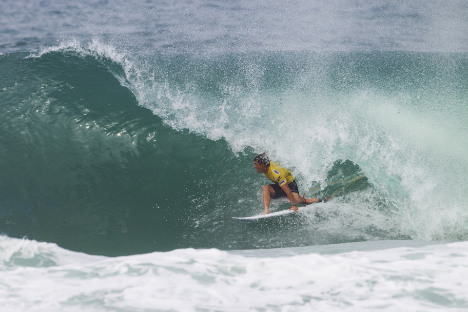 Micro in a happier place. En-route to defeating Parko in the 2013 Rio Pro.