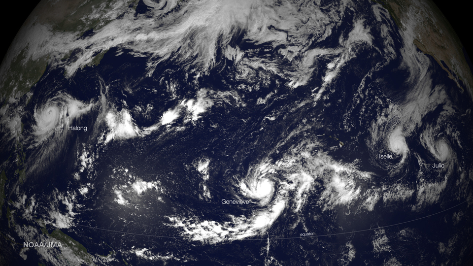 Four Tropical Storms wall to wall across the Pacific with two impacting Hawaii Directly