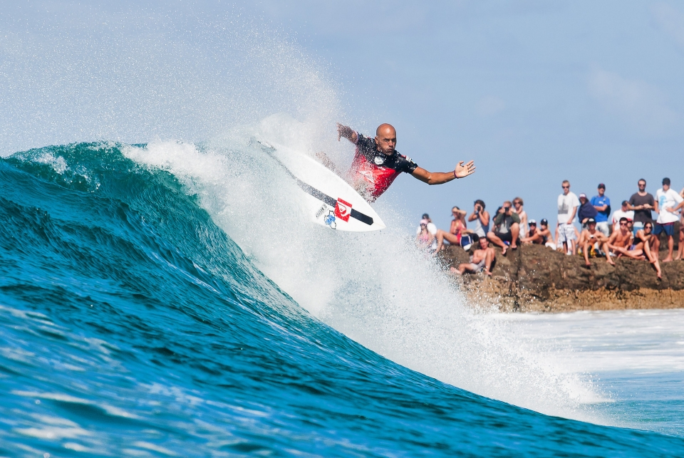 Kelly Slater off the lip at Snapper in his last World Tour event in Quiksilver livery