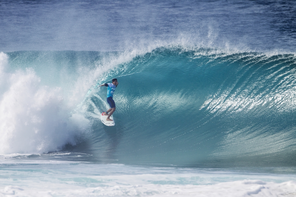 Gabriel Medina was the indisputable stand-out. He discovered a string of Pipeline bombs where it seemed there were none, and accentuated his waves with alley oops and power carves. His opponent, Bruce Irons, was left flummoxed.