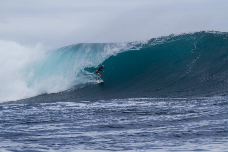 For this sneaky barrel sequence of Nat Young. Stu handed the camera over to his captain Maika whilst he grabbed some caverns of his own.    A regular out there, Stu would much rather be surfing and hopes to one day have completely out-sourced his role.