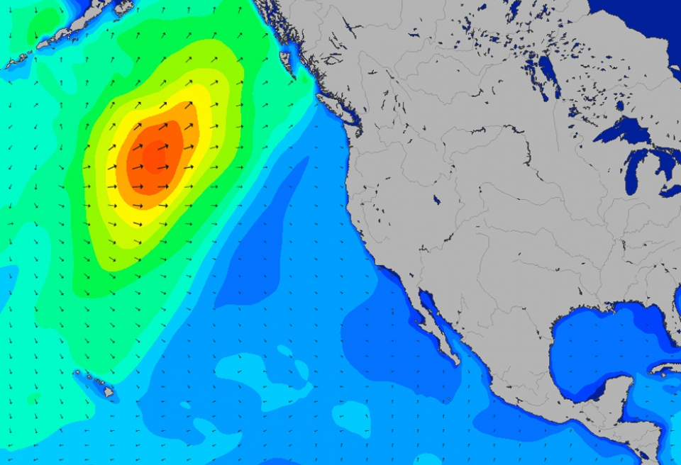 The bulk of the storm energy (and wind) made landfall to the North of San Fran leaving a clean but still chunky swell for Ocean Beach surfers.