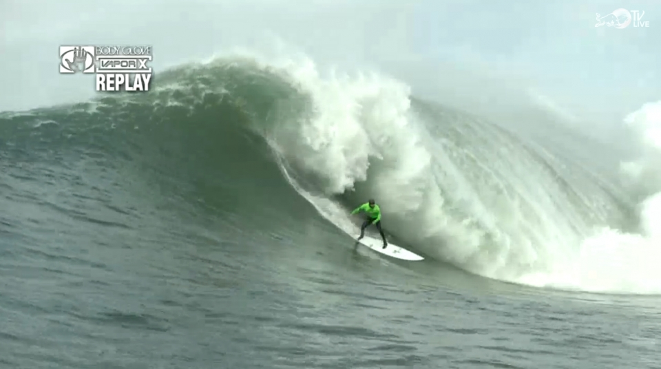 Shaun Dollar making one of the waves of the day.