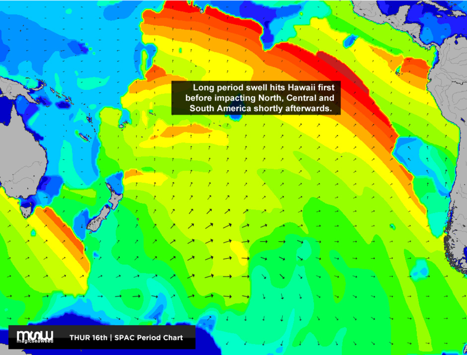 After hitting Teahupoo the swell continues to spread out radially across the largest expanse of ocean on the planet.