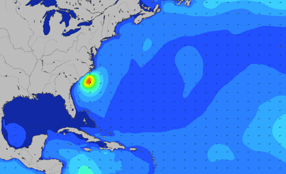 The chart to thank for the short lived waves on North America's East Coast
