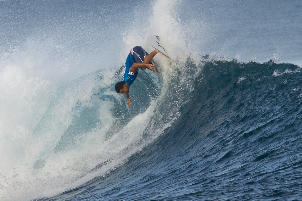 """I'm really disappointed with that because I made a mistake on my second to last wave,"" said Michel Bourez (pictured). ""Nat is one of the guys that I thought would get a good result out here. He's amazing and he surfs so good and I'm super happy that he ended up making the Final. I'm so pleased that I made it to the Semifinals and got another good result."""